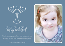 Pearl Menorah on Gray Happy Hanukkah Photo Cards