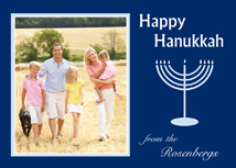 Menorah on Navy Happy Hanukkah Photo Cards